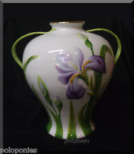 HEREND Large Vase with Handles 7455 - Embossed Irises and Leaves
