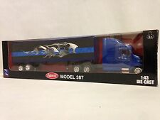 Peterbilt 387 Tractor w/40' Container Blue Flames,1:43 Diecast,New Ray Toy,Blue
