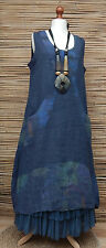 LAGENLOOK LINEN AMAZING 2 POCKETS FLORAL A-LINE LONG DRESS*NAVY* BUST UP TO 46""