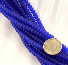 Small ~ 3mm X 4mm Rondelle Sea Glass Beads ~ Royal Blue