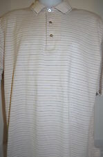 Ben Hogan Shirt L Large Men's Golf Polo Ivory Tan Blue Striped