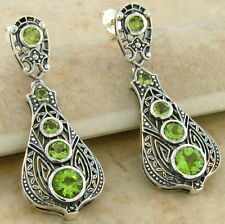 GENUINE PERIDOT ANTIQUE VICTORIAN DESIGN 925 STERLING SILVER EARRINGS,   #587