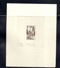 FRENCH MOROCCO 1949 ARMY WELFARE (Sc B43 Trial Color Proof on CARD) SIGNED