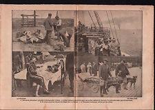 WWI Soldiers Deutsches Heer / Charette Ambulance Chiens Poilus 1917 ILLUSTRATION