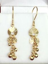 18k Solid Yellow Gold Ball Dangle Leverback Earrings, Diamond Cut 2.03 Grams