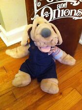 vintage Wrinkles plush puppy dog puppet Dark Blue coveralls Overalls Stuffed old