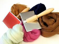 Hand Carders Kit with Dyed Fine Merino Wool & White Wool 200g Combine P&P Boxed