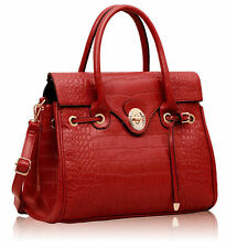 Brand New DESIGNER Ladies Women Trendy Red Croc Tote Handbag Shoulder Office Bag