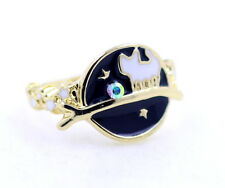 Gold tone enamel universe, cat and star ring, UK Size P