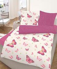 Renforce Bettwäsche 2 tlg. Schmetterlinge beere 155 x 220 cm Übergröße