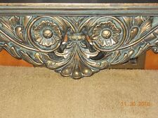 VERY ORNATE RESIN WALL HANG DECORATIVE ANTIQUE GOLD GREAT PATINA   BOOK SHELF