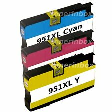 3 Pack 951XL C/M/Y Ink Cartridge For HP OfficeJet Pro 8100 8600 8610 8615 w/Chip