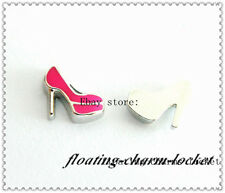 10 pcs High heel shoe floating charms  for living glass floating locket FC1035