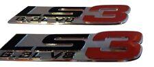 =TWO= 3D LS3 6.2L V8 Red Chrome Fender Emblem Badge Corvette Camaro G8 SS Holden