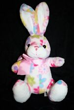 "Animal Adventure Pink Flowers Floral Plush EASTER BUNNY RABBIT 8"" Bow 2012 Toy"