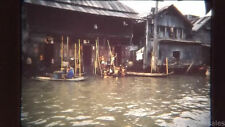 1962 Children Playing Scene of River Houses  Bangkok Thailand 35mm Kodak Slide