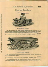 1904 AD Sheffield Railroad Railway Car Co Hand and Push Cars Charging Larries