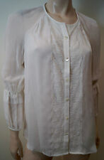 DIANE VON FURSTENBERG Off White 100% Silk Collarless Lace Trim Blouse Top UK14