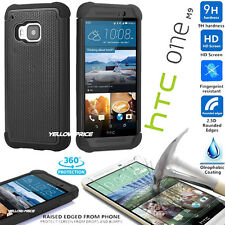 HTC ONE M9 Case Shockproof Cover, HTC ONE M9 Premium Tempered Glass Screen Film