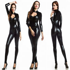 Vinyl PVC WETLOOK CATSUIT COSPLAY CLUBWEAR 2WAY Zipper Bodysuit Jumpsuit M-L