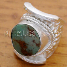 SS23 Nepalese Handmade Turquoise Sterling Silver Saddle Ring 7.5 Nepal Tibetan