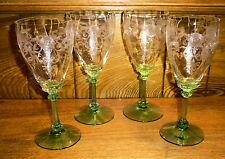 4 Heisey Crystal Clear Green Stem Water Goblets - Old Colony Stem 3380 Etch 448