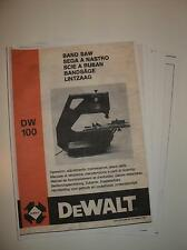 Copy of my original Dewalt DW100 Bandsaw/Sander Manual