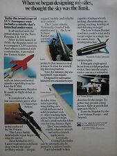 9/1975 PUB LTV AEROSPACE MISSILE REGULUS I II LANCE RAMJET ICBM ORIGINAL  AD