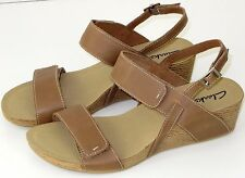 Womens Clarks Alto Disco Leather Wedge Sandals Beige 11M
