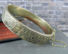 Vintage Birks Sterling Silver Vine Pattern Bangle Bracelet - Made in England