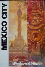 WESTERN AIRLINES MEXICO CITY Vintage 1979 Travel poster BOB PEAK Art