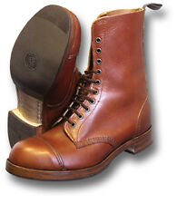 1 PAIR HAND-MADE OFFICERS BROWN HIGH-LEG BOOTS UK-MADE [71073]