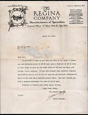 Regina Co Music Boxes Printing Presses New York 1915 Hexaphone Letter Head Rare
