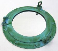 """11"""" Aluminum Porthole Mirror Green Finish ~ Cabin Ship Porthole ~Nautical Decor"""
