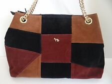 Emma Fox Women's Suede Leather Filmore Patchwork Satchel Purse Shoulder Bag