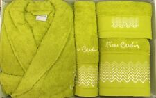 PIERRE CARDIN L / XL 4 PIECE BATHROBE TOWEL SET LIME APPLE GREEN 100% COTTON