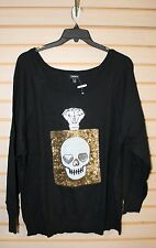 NEW TORRID WOMENS PLUS SIZE 3X 3 BLACK W SEQUIN SKULL PERFUME BOTTLE SWEATER