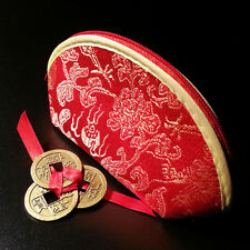 Red Chinese Coin Purse With 3 Tied Lucky Chinese Coins Inside: Wealth, Feng Shui