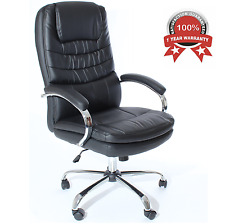 Executive Office Chair PU Leather Reclining Computer Swivel Desk Seat Adjustable
