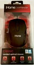 iHome Classic Corded Optical Mouse For Mac & Windows Computer - Black - NIB