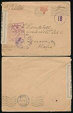 USA 1918 WW1 CENSORED to ITALY YMCA ENVELOPE...TAPE + 2 HANDSTAMPS