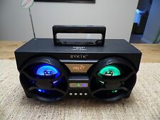 Sykik SP2091BT Bluetooth Boombox w/ SD USB FM Radio & Color Changing Light Show