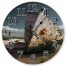 """10.5"""" OLD RUSTIC ABANDONED BOAT CLOCK - Large 10.5"""" Wall Clock - Home Decor 3198"""