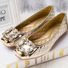 Bling Stylish Lady's Flat Loafers Boat Dress Shoes Rhinestones Slip On Ballet