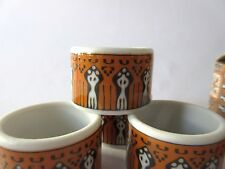 Set of 4 Batik Vintage Porcelain Retro Modern Napkin Rings Japan w box