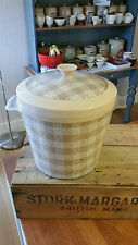 Vintage Pinky-Beige Plastic Ice Bucket – Woven Fabric Design – Retro!