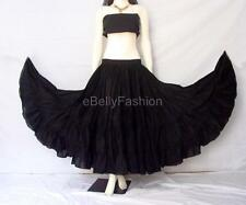 Black Cotton Gypsy Skirt 4 Tier 32 Yard Belly Dance Tribal Costume Ethenic Jupe