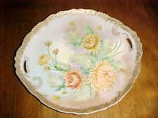 HAND PAINTED GORGEOUS CAKE CHARGER PLATE DOUBLE HANDLED YELLOW GOLD MUMS FLORAL