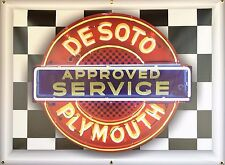DESOTO PLYMOUTH APPROVED SERVICE NEON STYLE BANNER SIGN LARGE GARAGE ART 4' X 3'