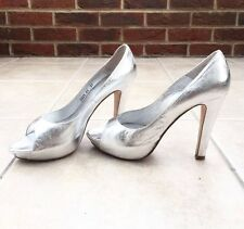 Lk Bennett Silver Shiny Leather Peep Toe Stilletto Platform Court Shoes Size 39